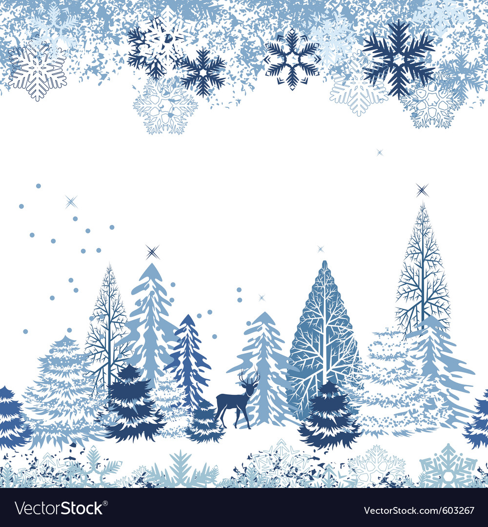 Seamless pattern with winter forest vector