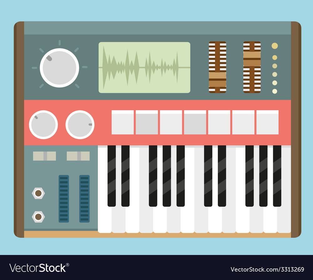 Flat old analog synthesizer vector