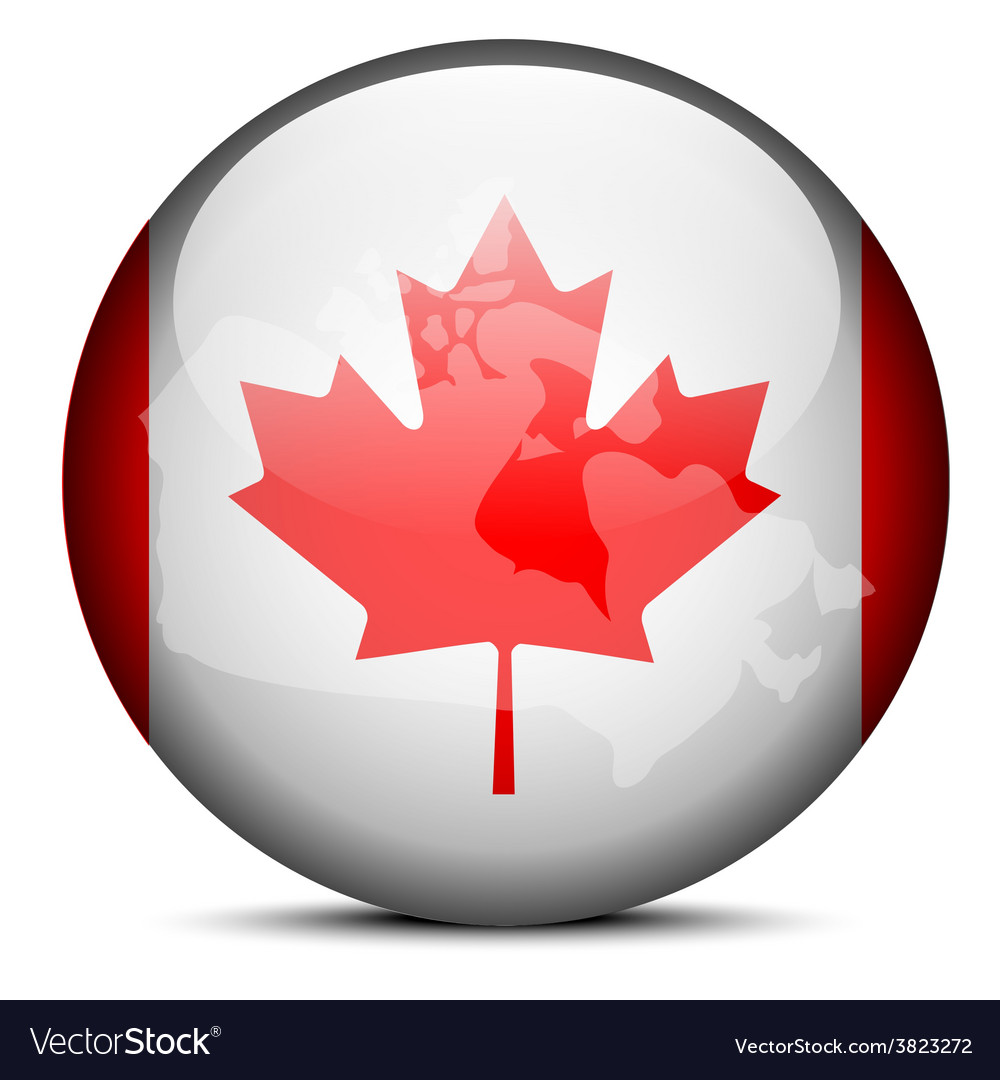 Map on flag button of canada vector