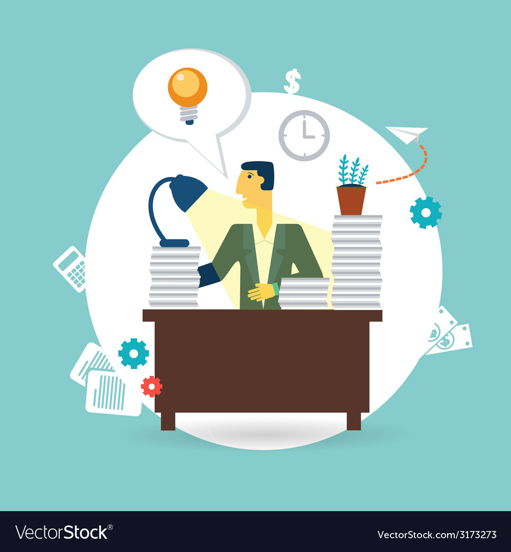 Businessman working at his desk vector