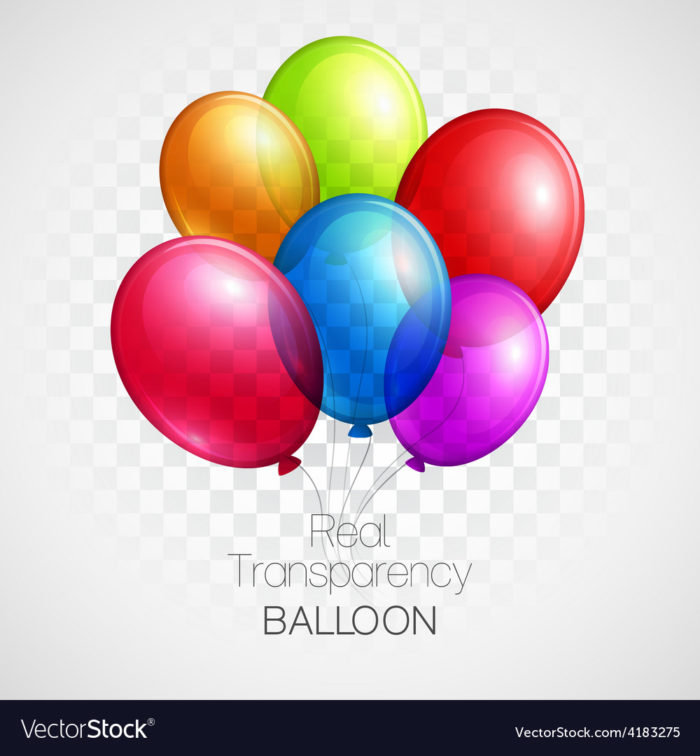 Festive balloons real transparency vector