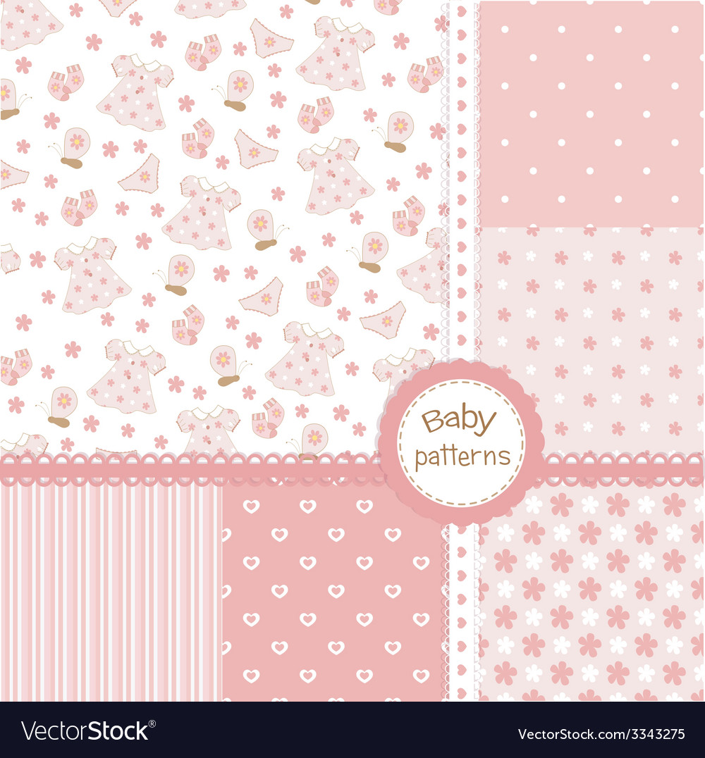 Set of baby girl patterns vector