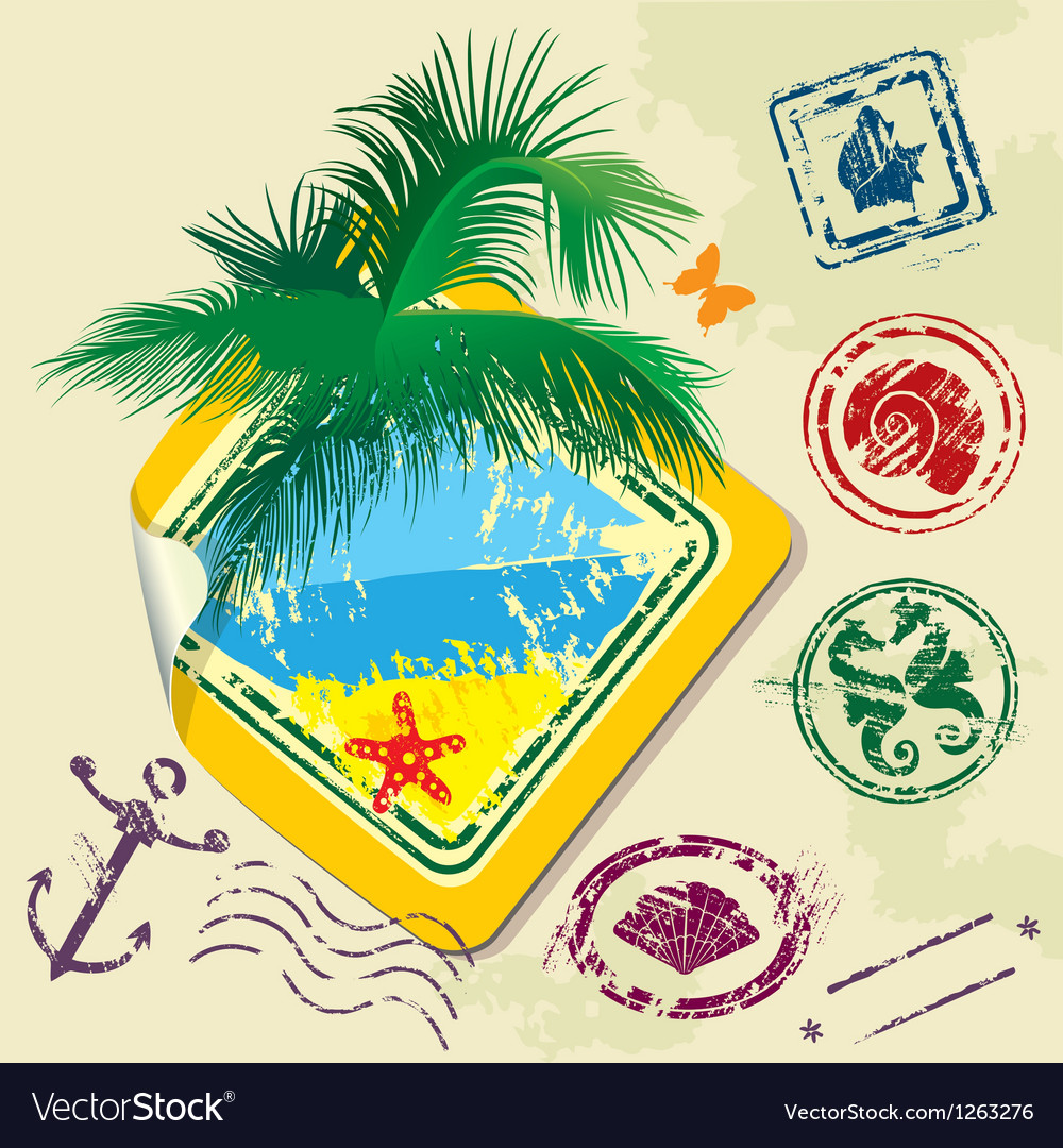 Summer and travel stamps and sticker - hand drawn vector