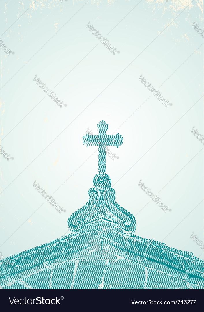 An engraving of the church vector