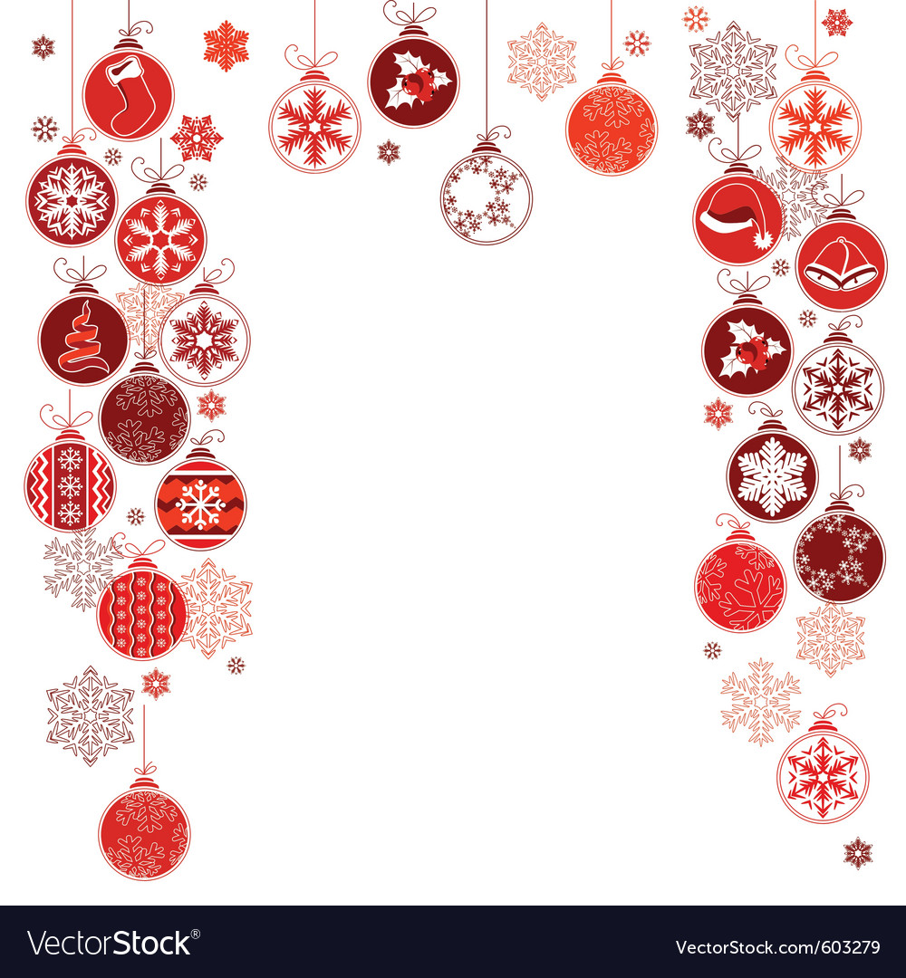 Blank christmas frame with hanging balls vector