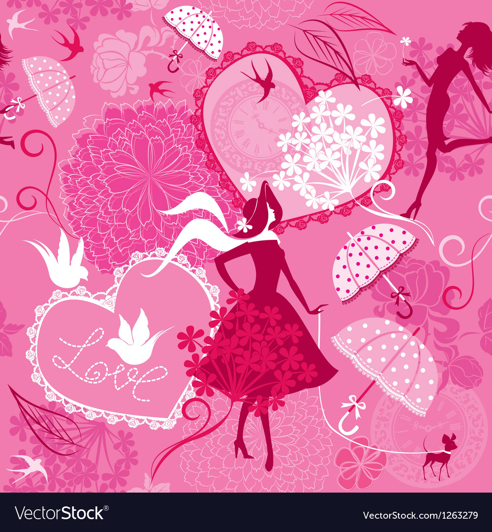 Seamless pattern in pink colors - silhouettes of f vector