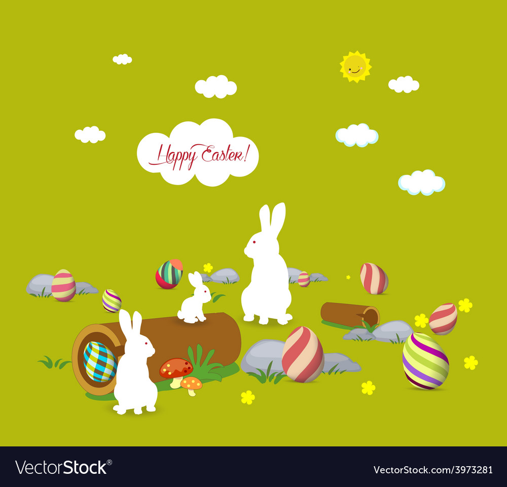 Easter bunny family vector