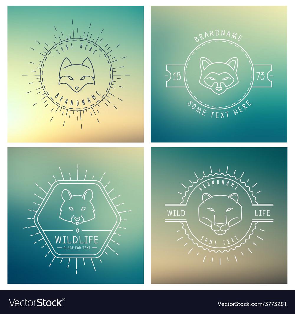 Trendy retro vintage insignias bundle animals vector