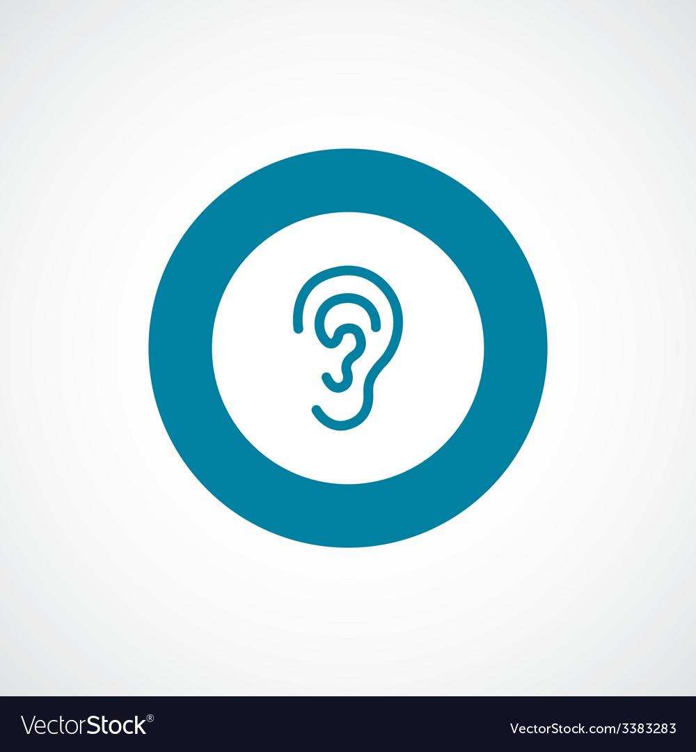 Ear bold blue border circle icon vector