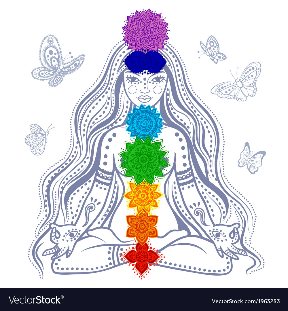 Girl with 7 chakras vector