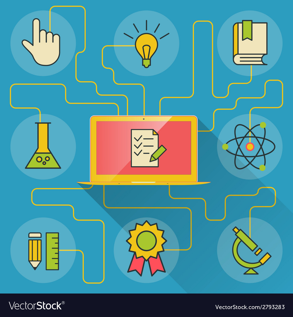 Science and education infographics with computer vector