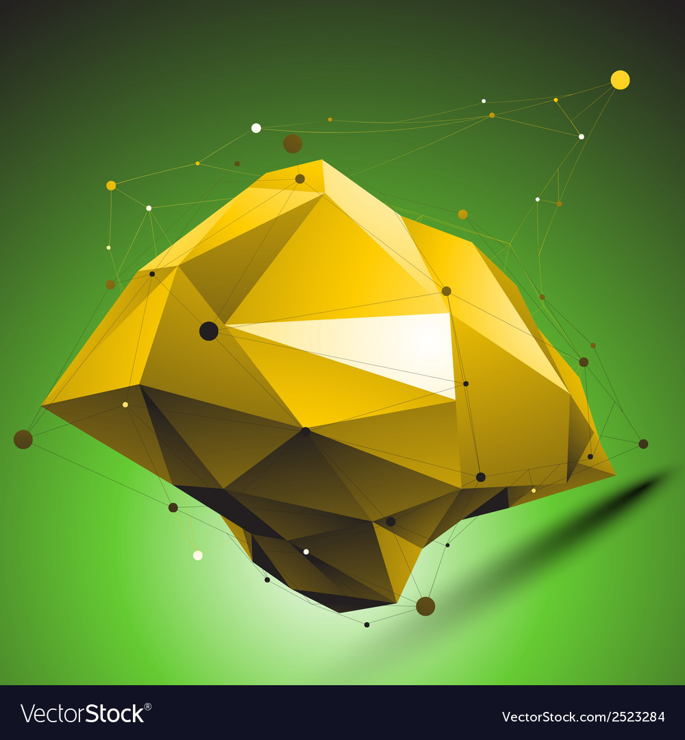 Gold distorted 3d abstract object with lines and vector