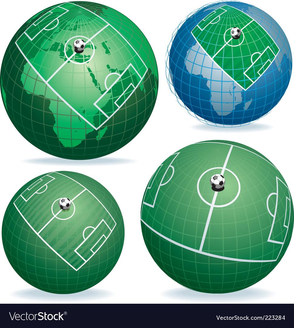 Soccer field on globe vector