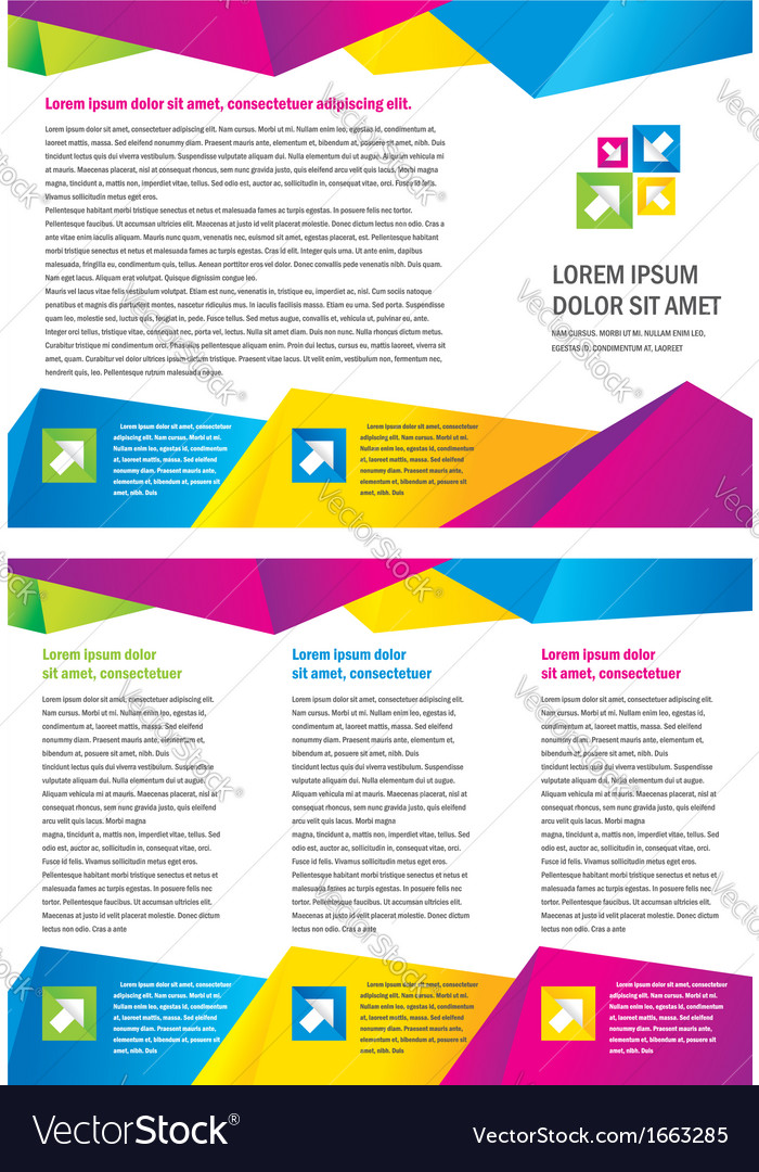 Brochure triangles colorful vector