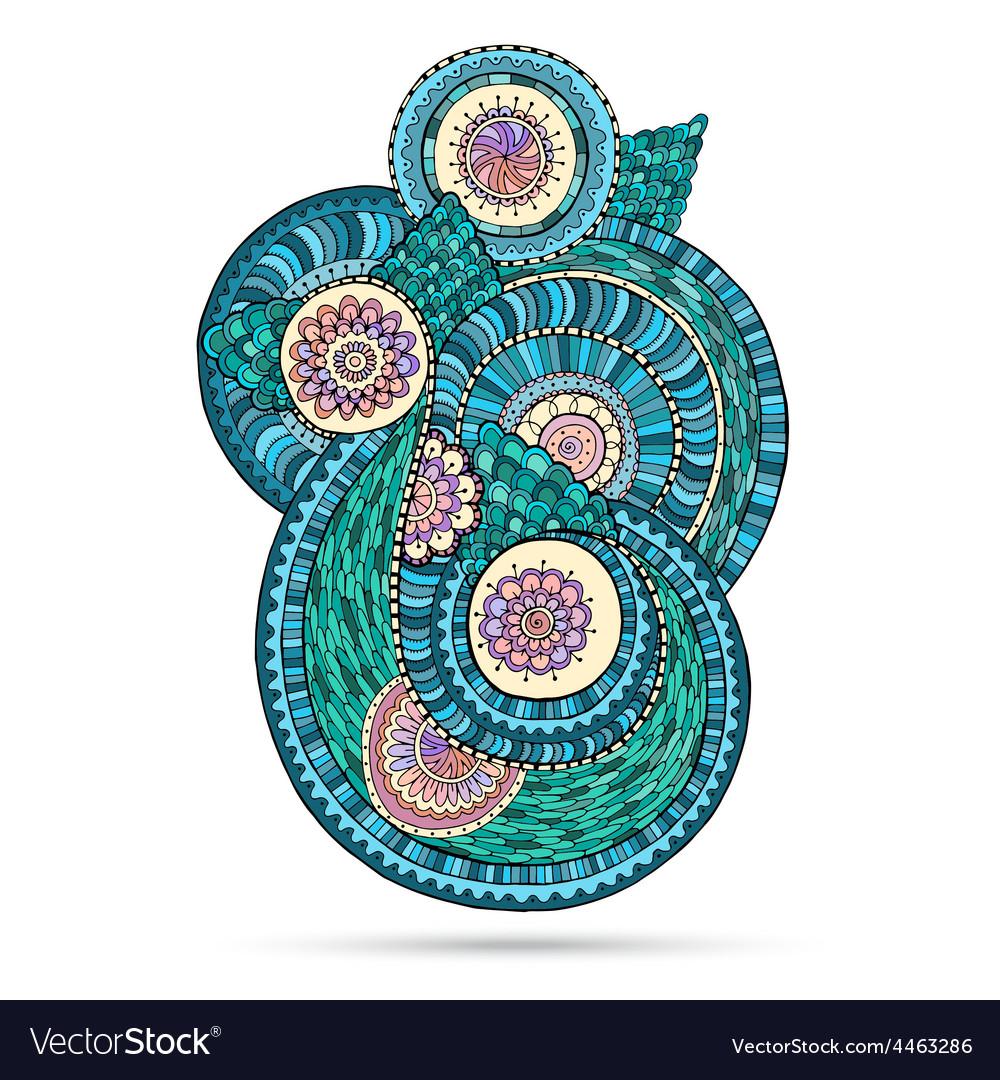 Henna paisley mehndi doodles abstract floral vector