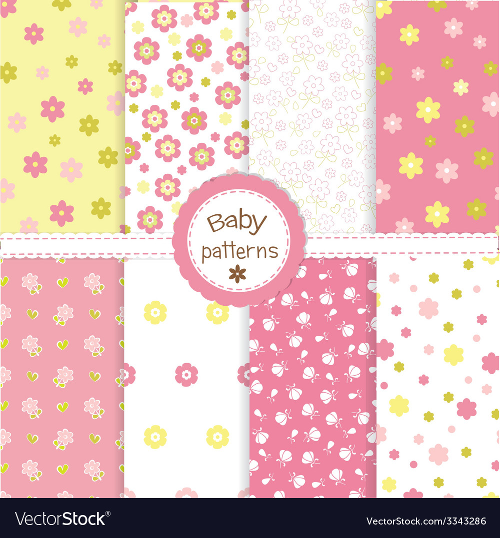 Set of baby patterns 2 vector