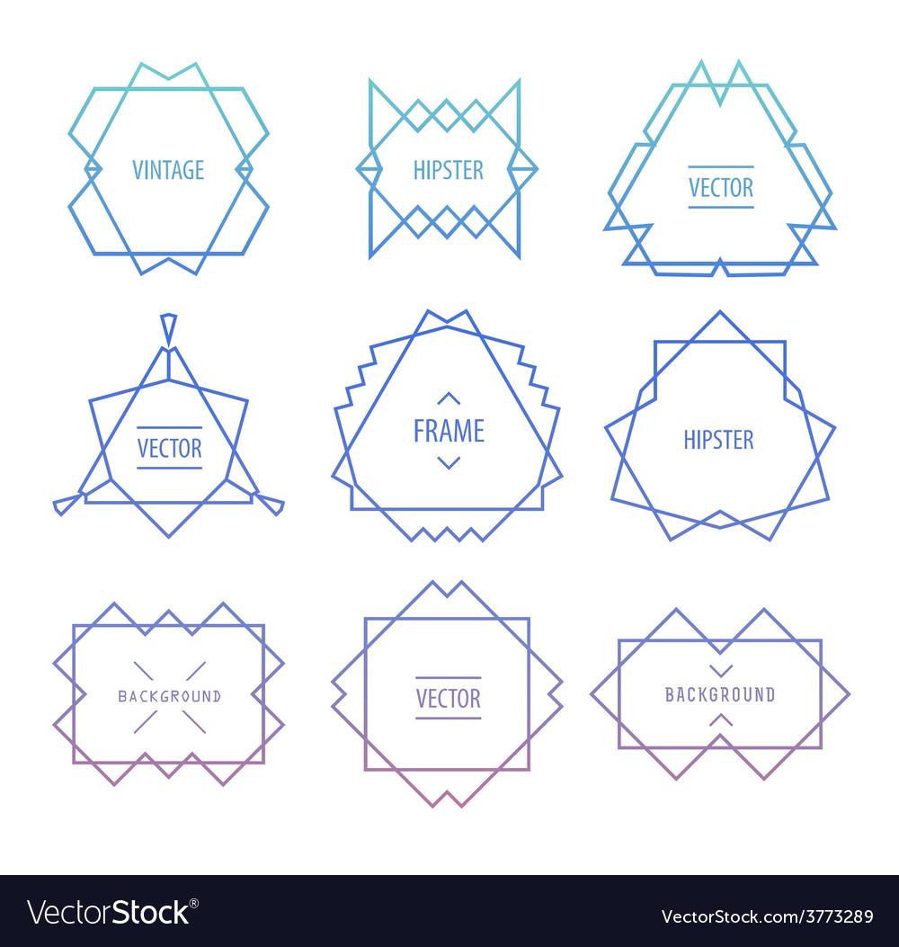 Trendy retro vintage insignias bundle vector