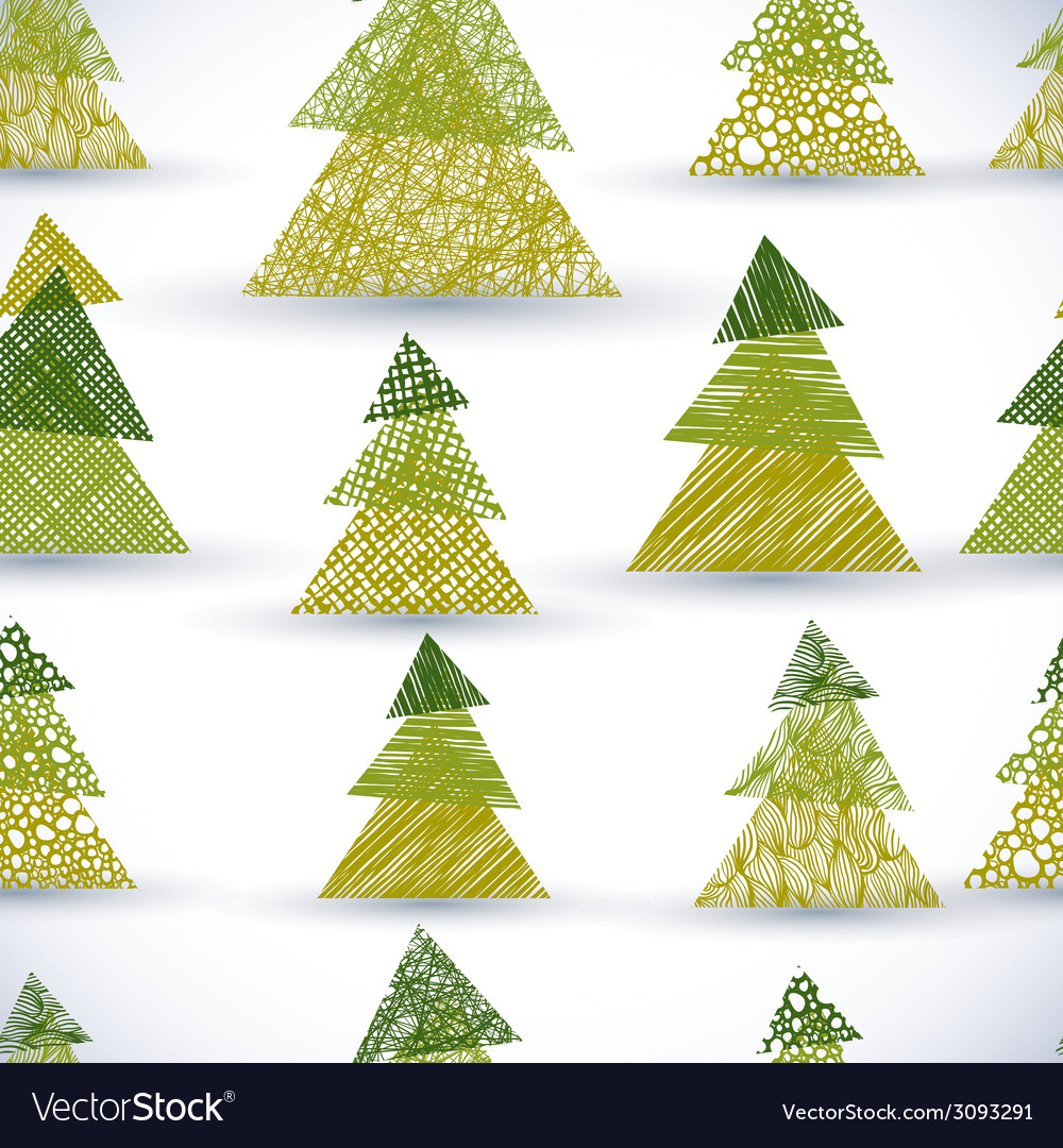Christmass tree seamless pattern hand drawn lines vector