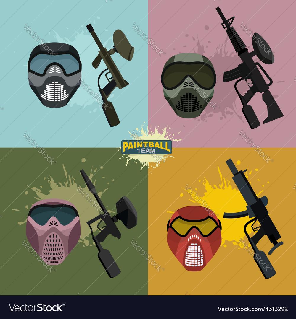 Set paintball helmet and guns vector