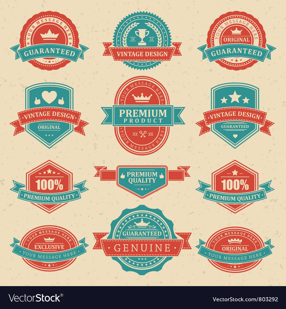 Vintage labels and ribbons vector