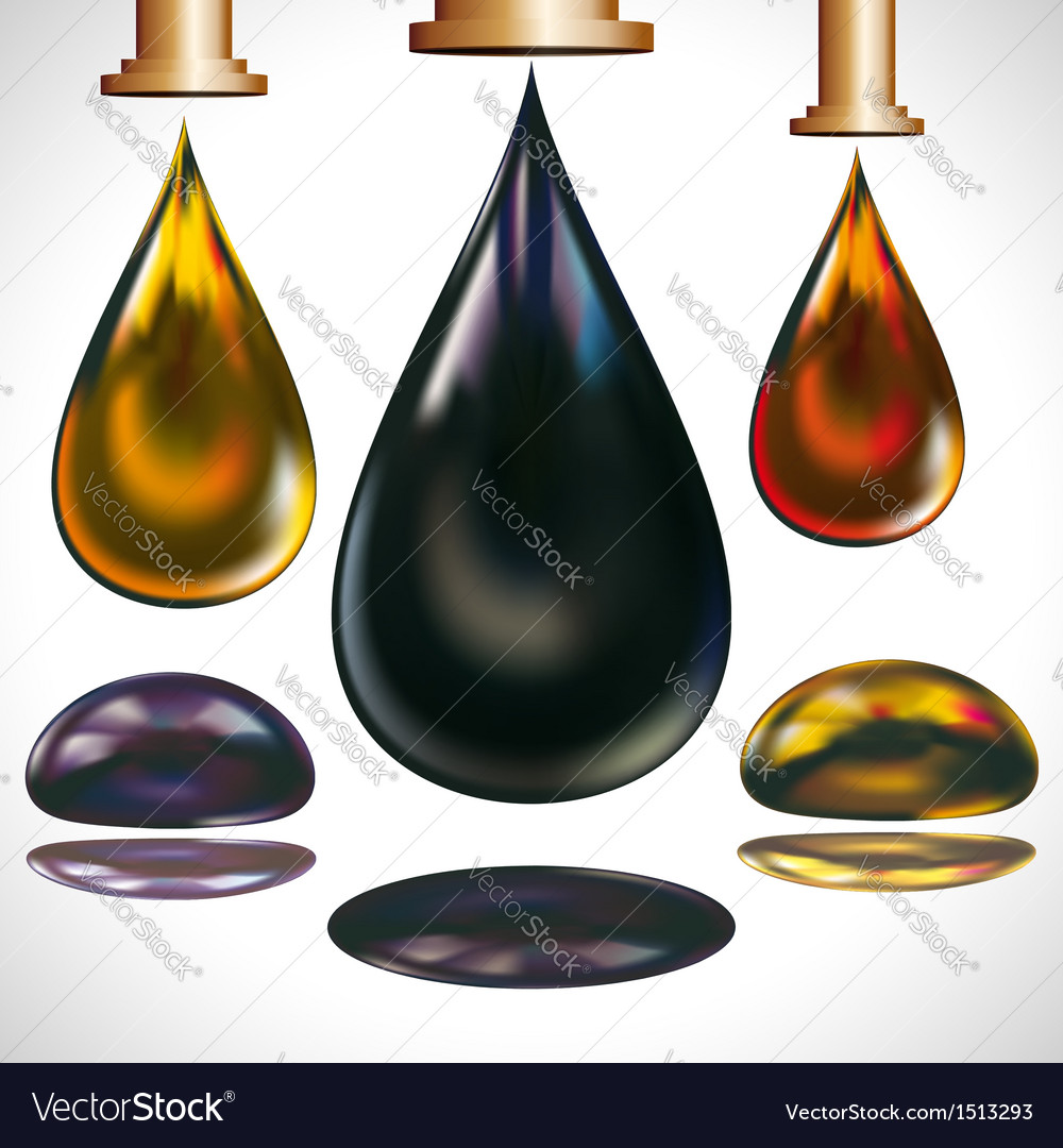 Large drops of oil dripping vector