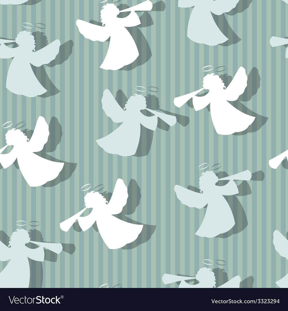 Christmas angels silhouette seamless pattern vector