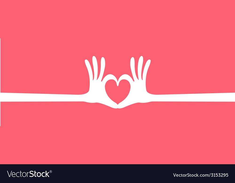 Hand heart gesture long vector