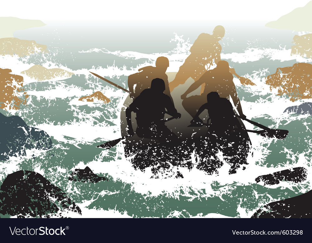 Whitewater rafting vector