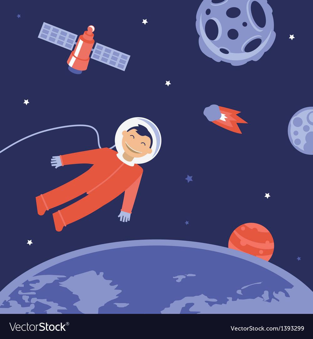 Cartoon astronaut in space vector