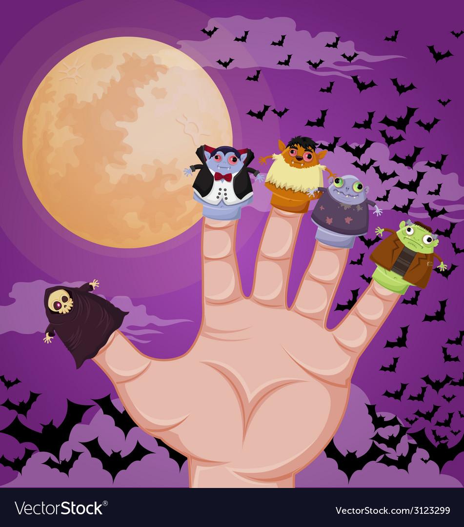 Five finger monsters halloween vector