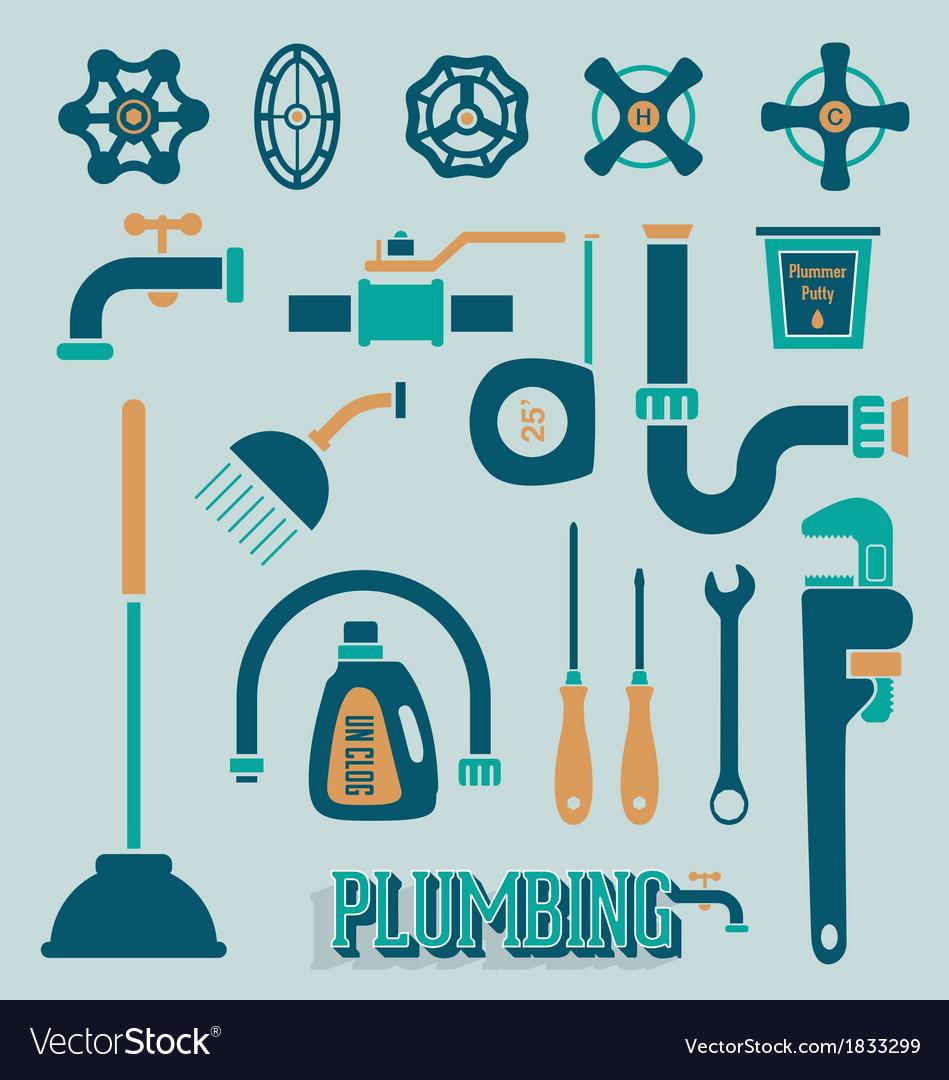 Retro plumbing icons and symbols vector
