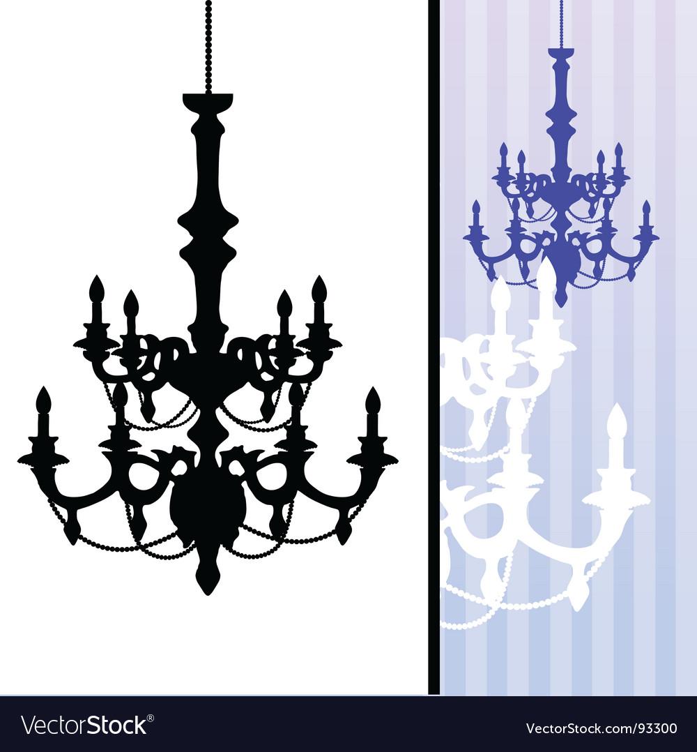 Chandelier on blue striped background vector