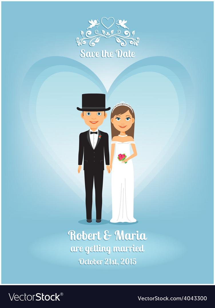 Cute cartoon bride and groom on wedding invitation vector