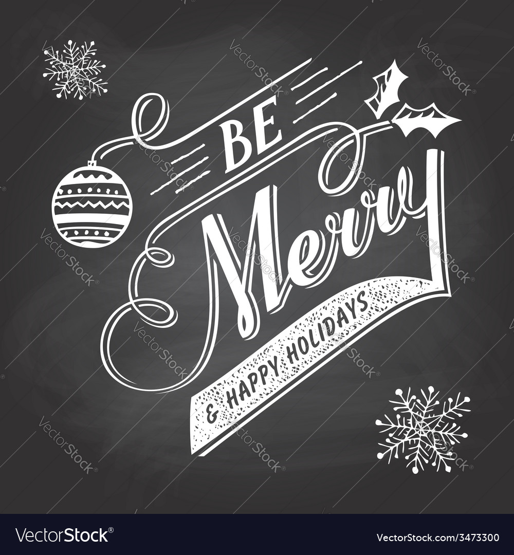 Hand-lettering christmas greeting label on vector