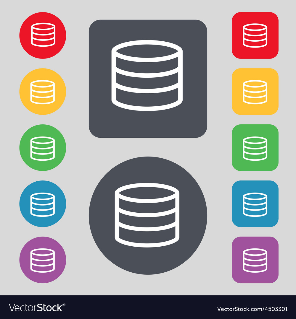 Hard disk and database icon sign a set of 12 vector