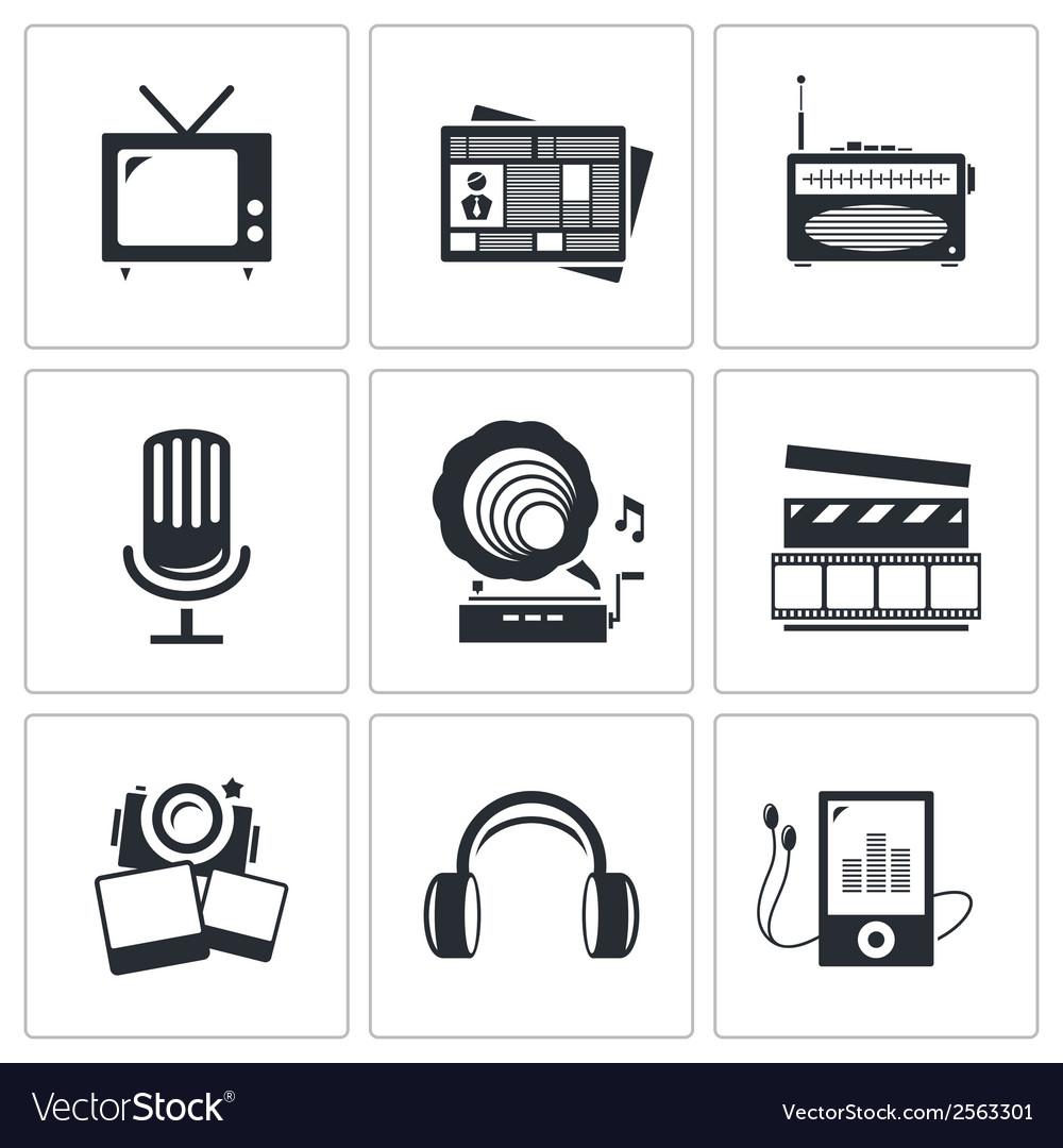 Media icons set - video news music tv recording vector