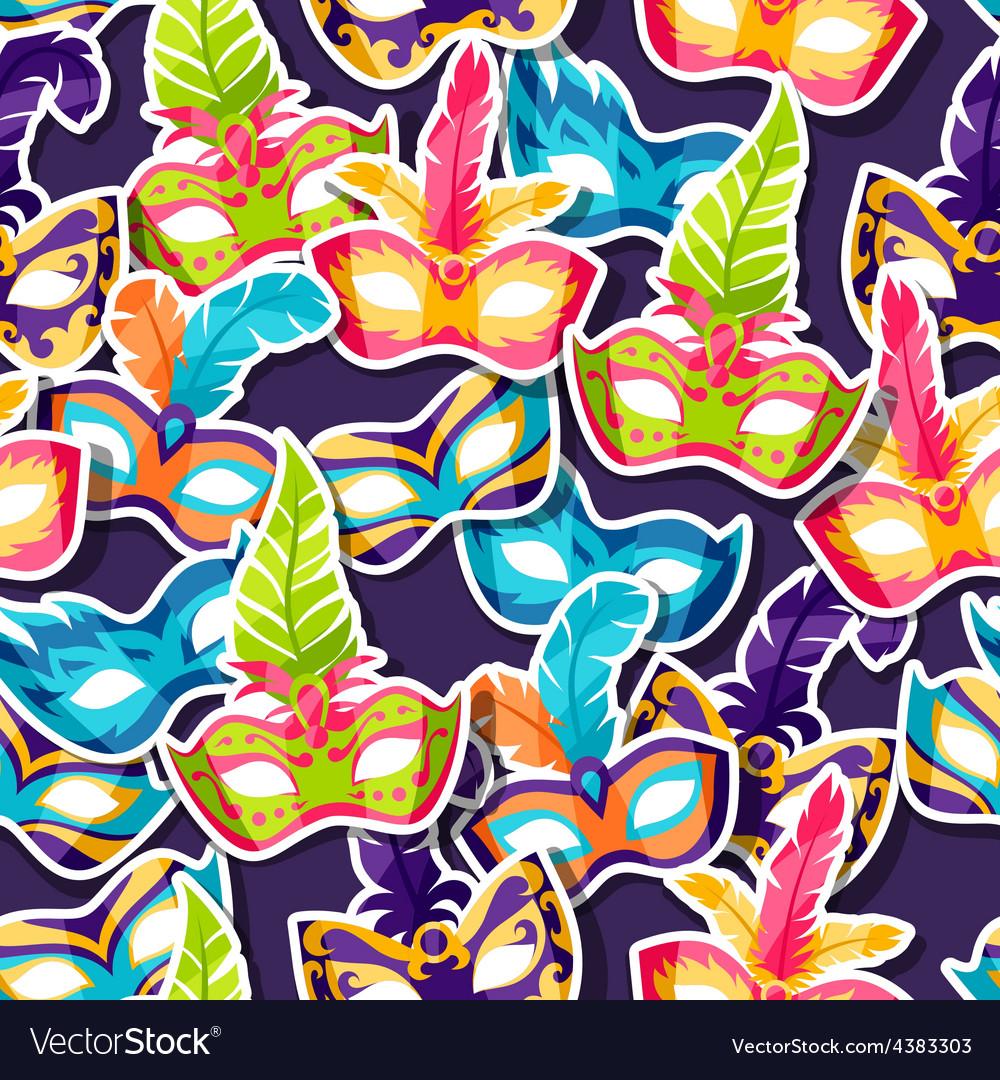 Celebration festive pattern with carnival masks vector