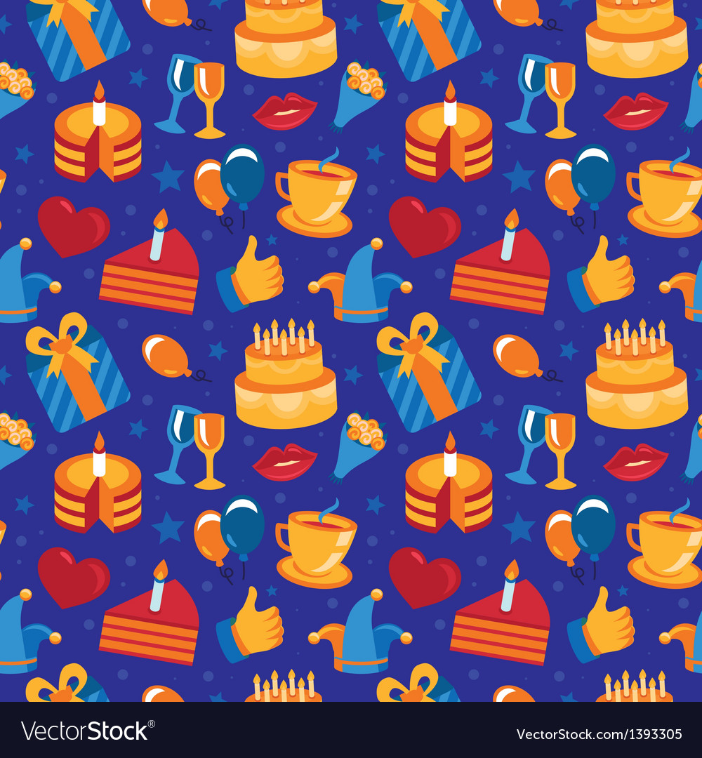 Seamless pattern with party icons and signs vector