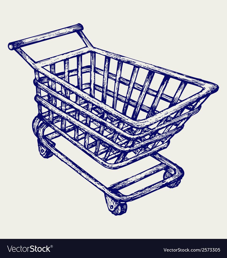 Shopping supermarket cart vector