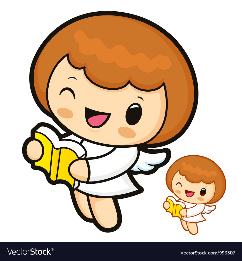 Bible reading angel characters vector