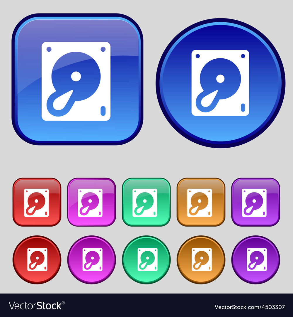 Hard disk and database icon sign a set of twelve vector