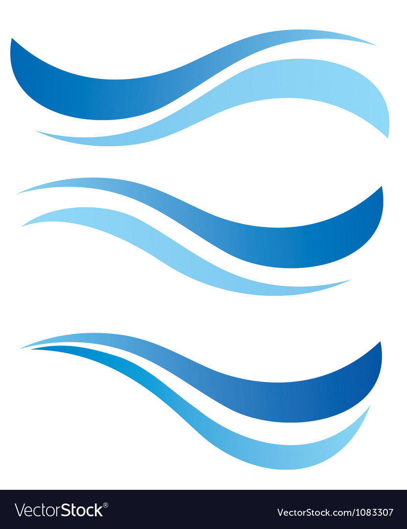 Water waves design elements vector