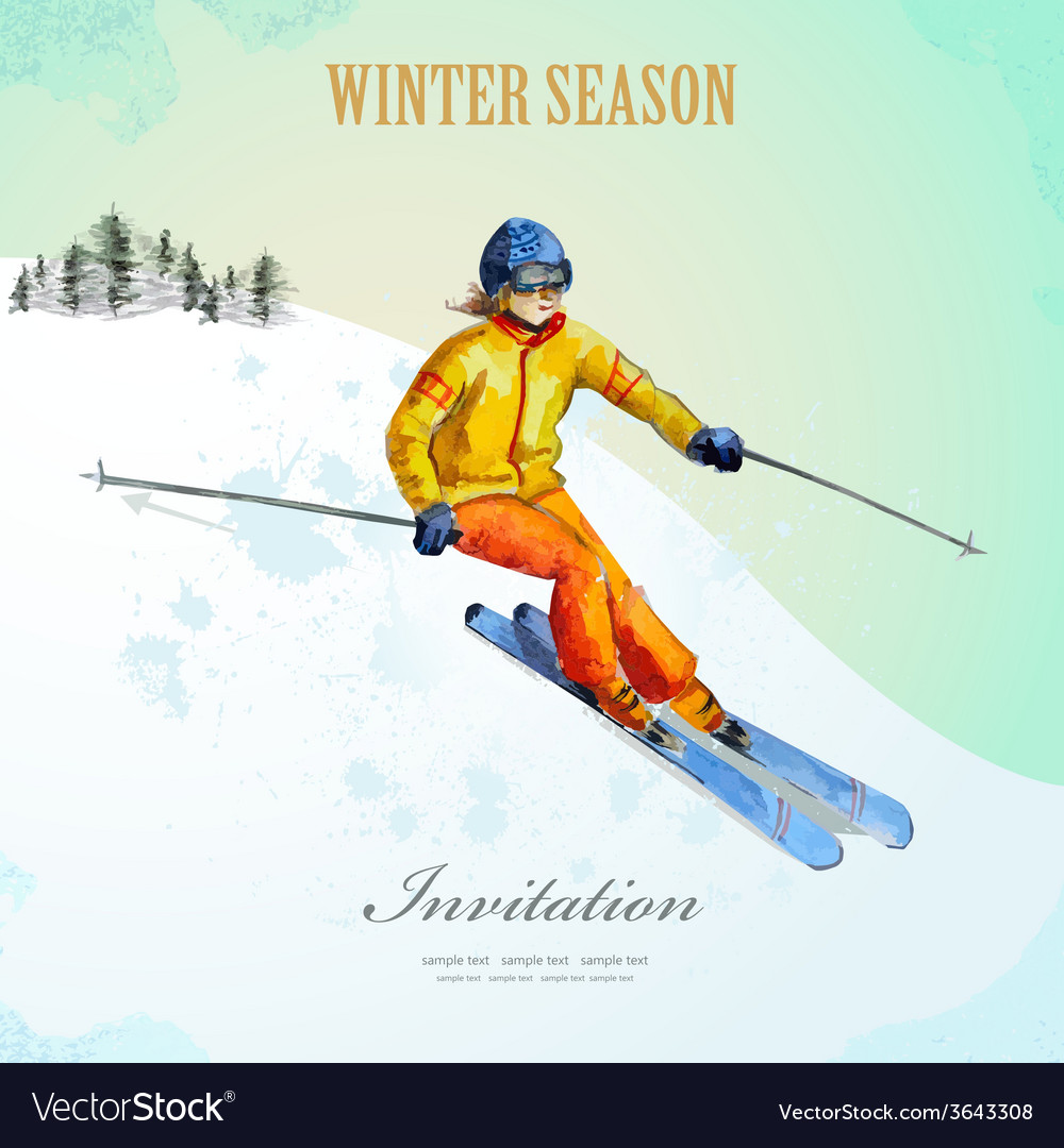 Winter sport fashion girl skier watercolor vintage vector