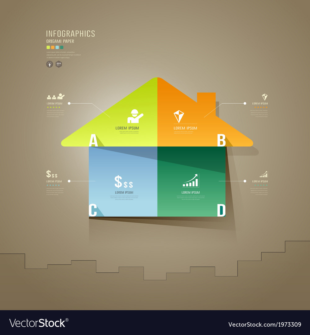 House colorful origami paper cuts infographics vector