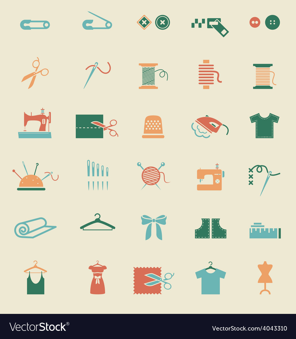 Sewing equipment and needlework icons vector