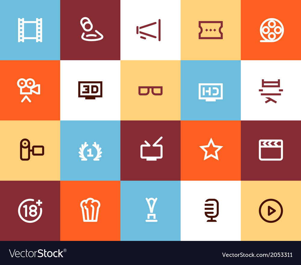 Movie industry and cinema icons flat vector