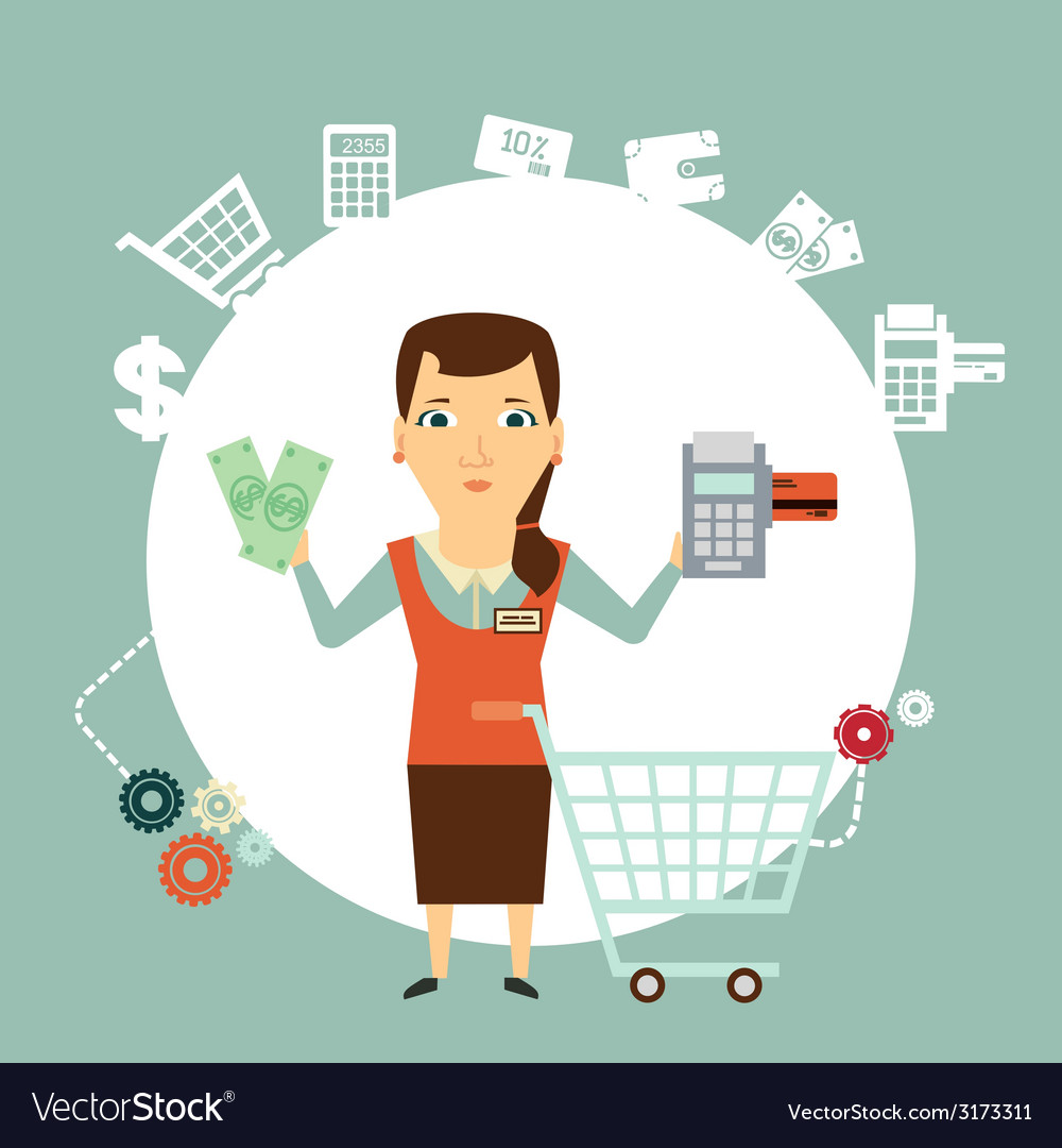 Seller offers to pay in cash or card vector