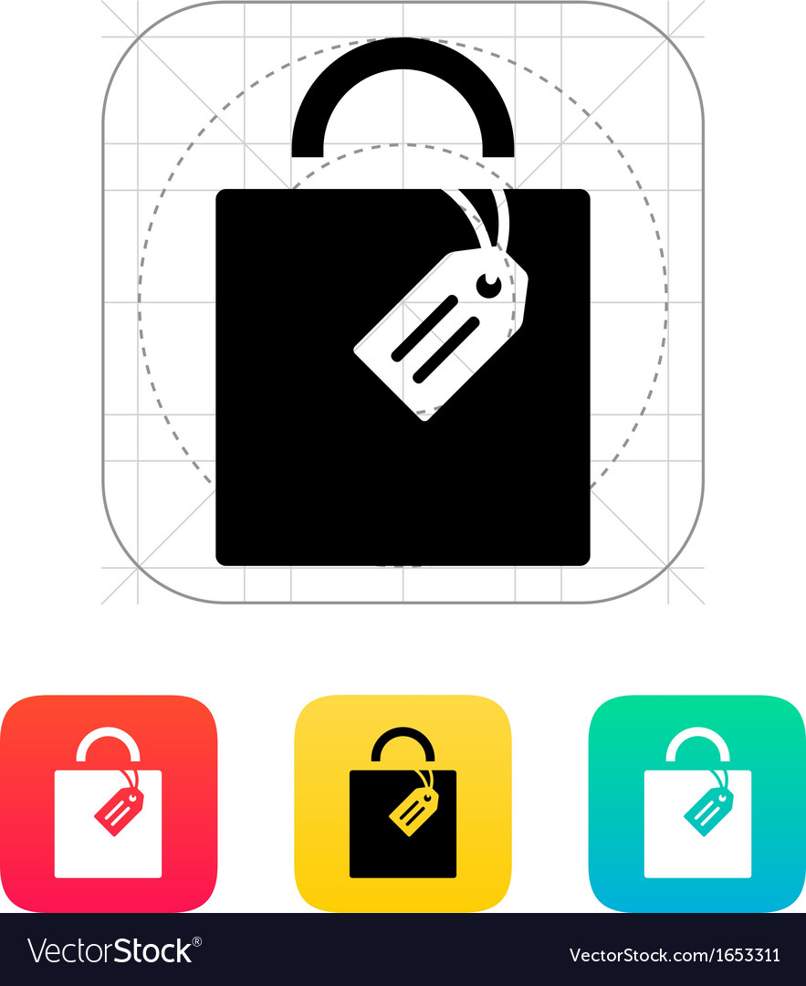 Shopping bag with label icon vector