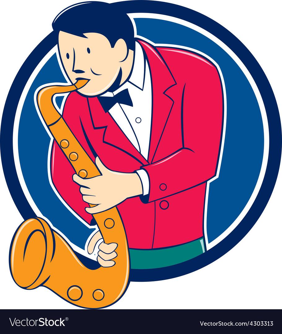 Musician playing saxophone circle cartoon vector