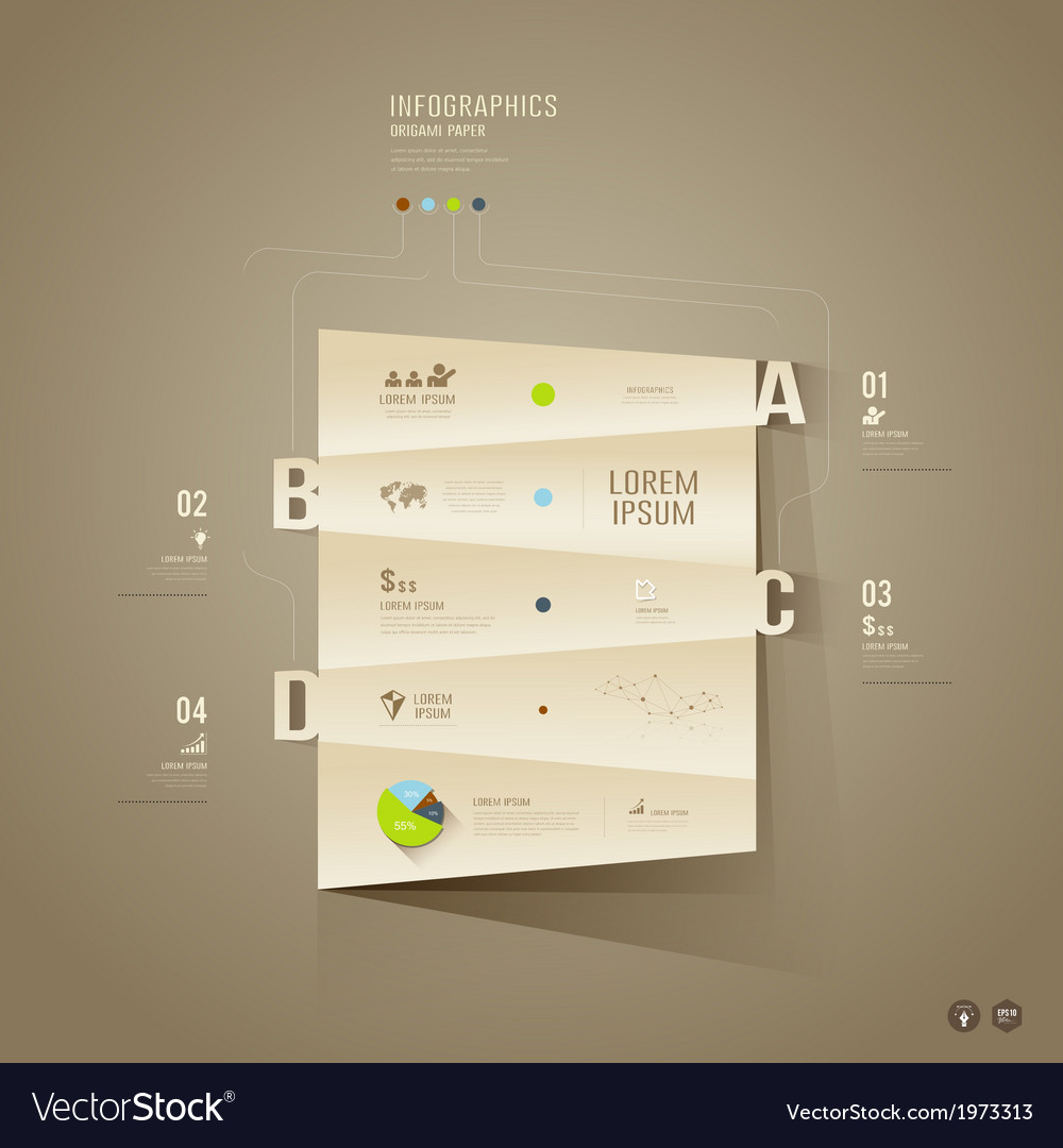 Origami paper cuts infographics for business vector